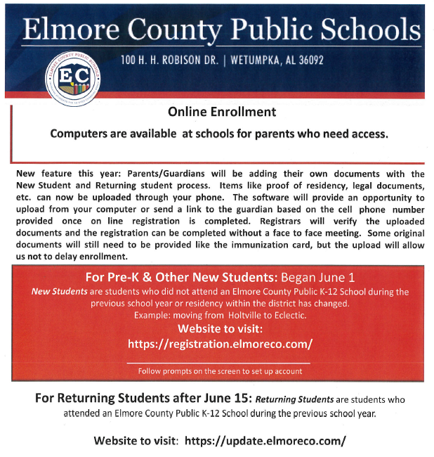 Online enrollment for new students only click here