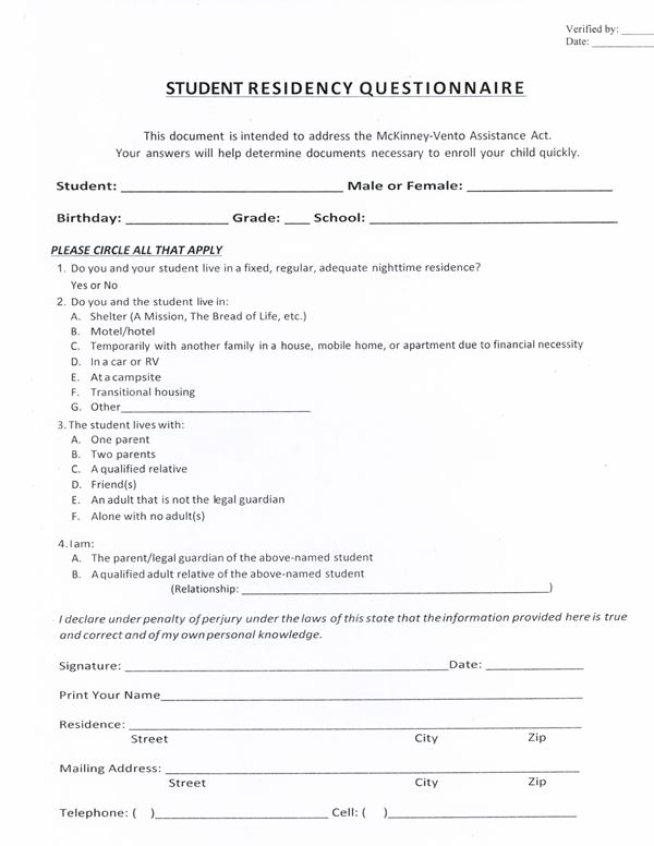 Student Residency Questionnaire