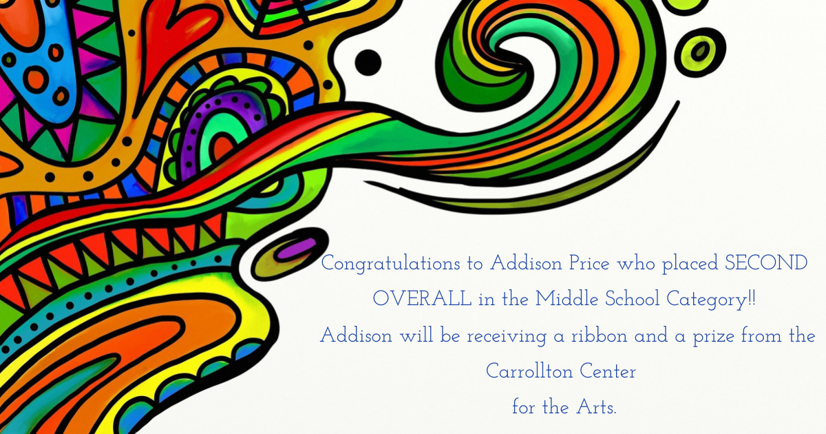 Addison Price Wins 2nd Place in Contest at Carrollton Arts Center