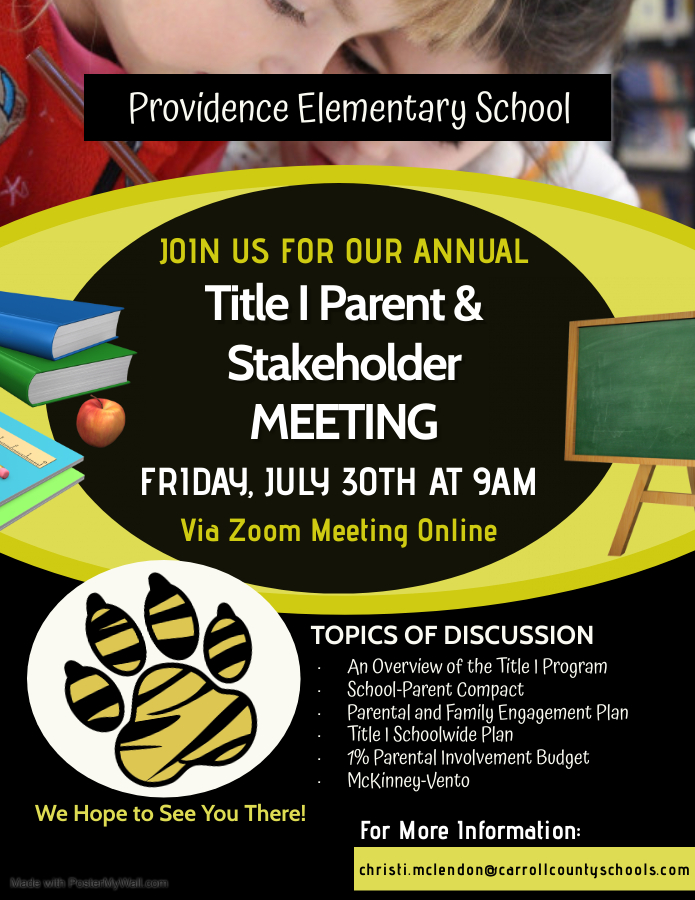 Annual Title I Meeting Flyer