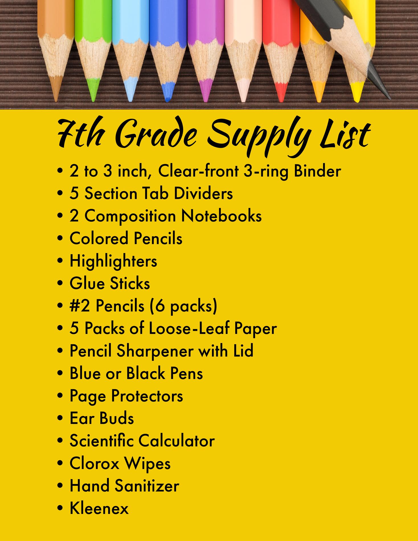 7th grade supplies
