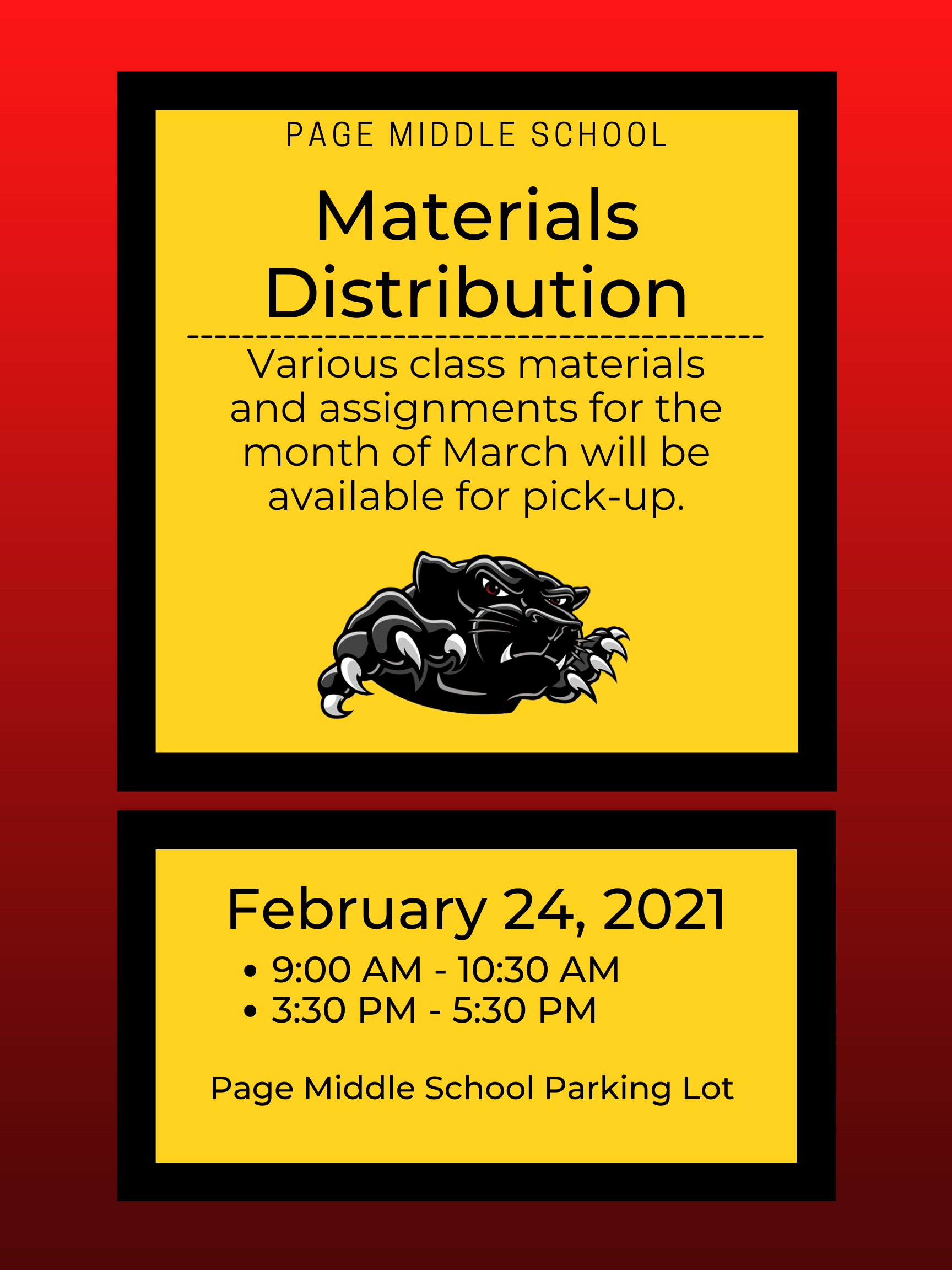March Materials Distribution
