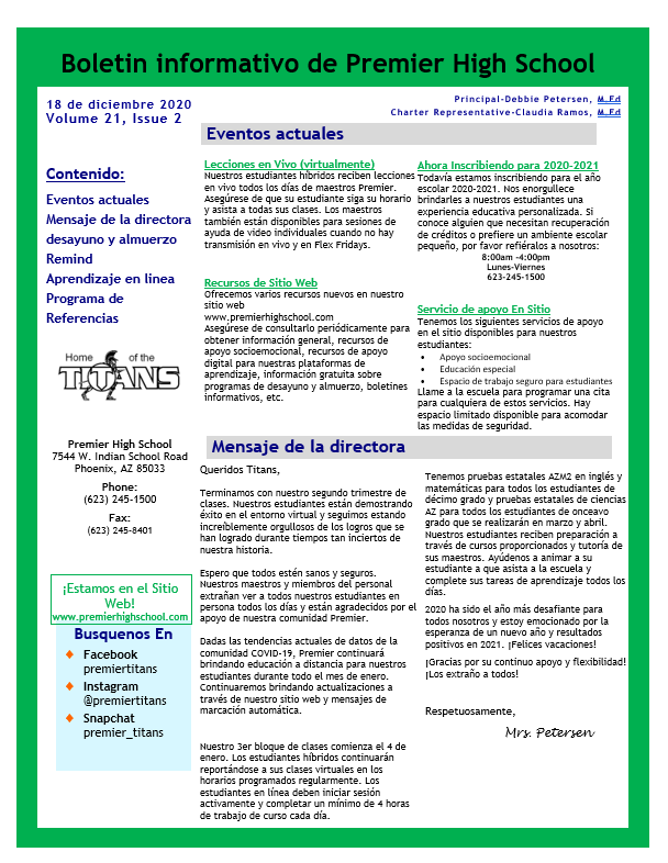 Newsletter page 1 Spanish