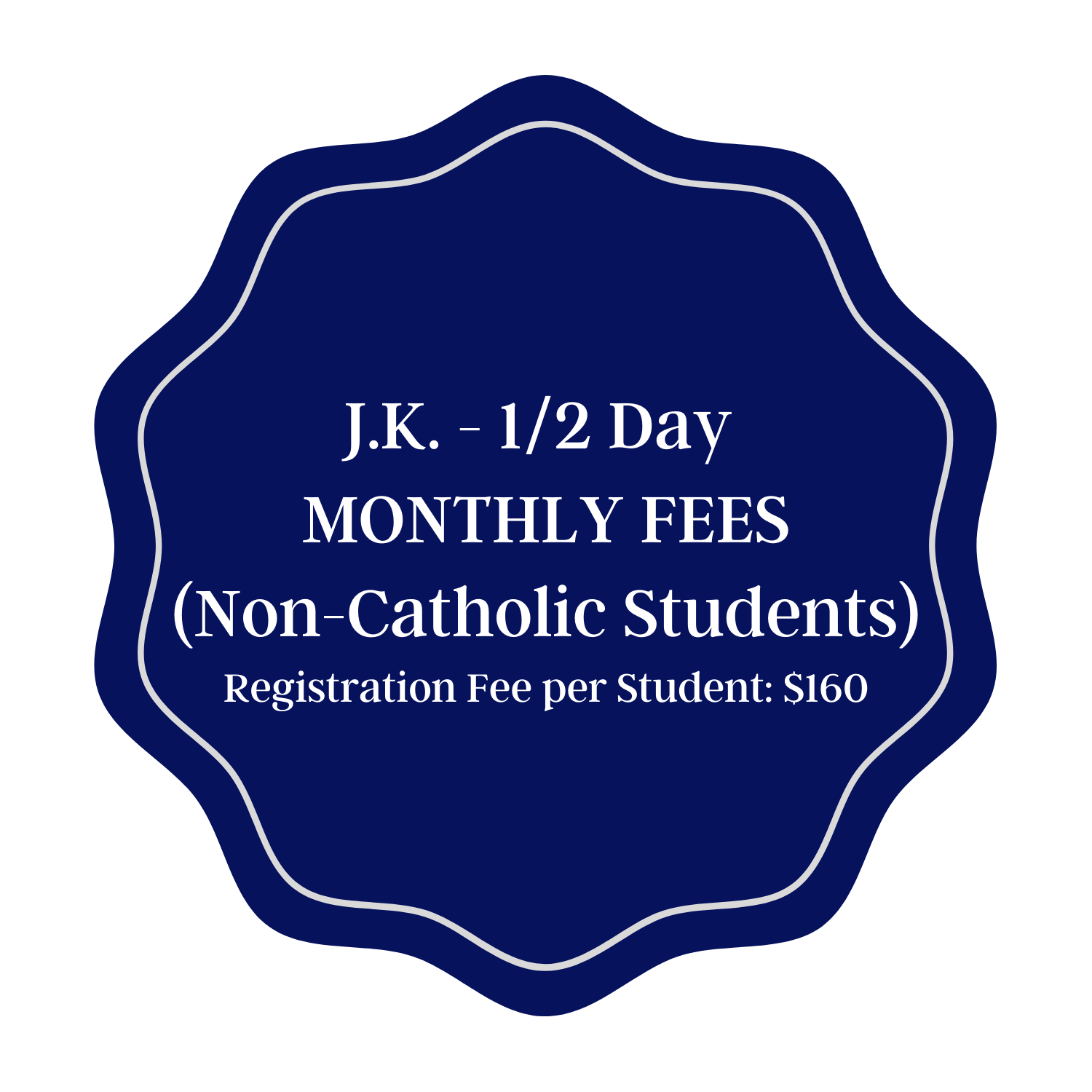 Monthly Tuition - JK Half Day Non-Catholic