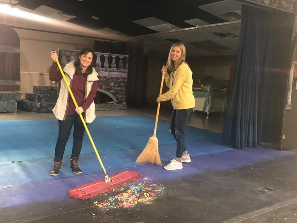 Teachers cleaning up