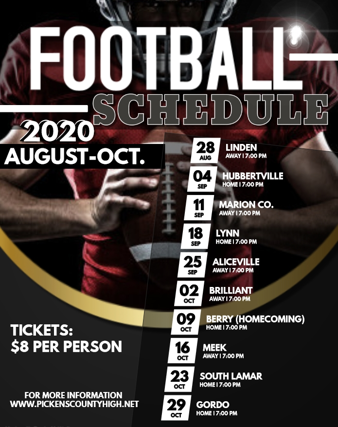 PCHS 2020 Football Schedule