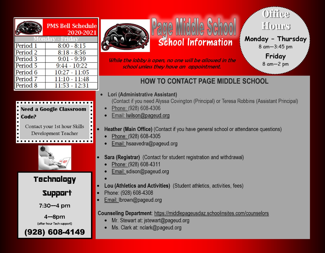 Page Middle School Parent Hotline, Technical Support, and School Day Information