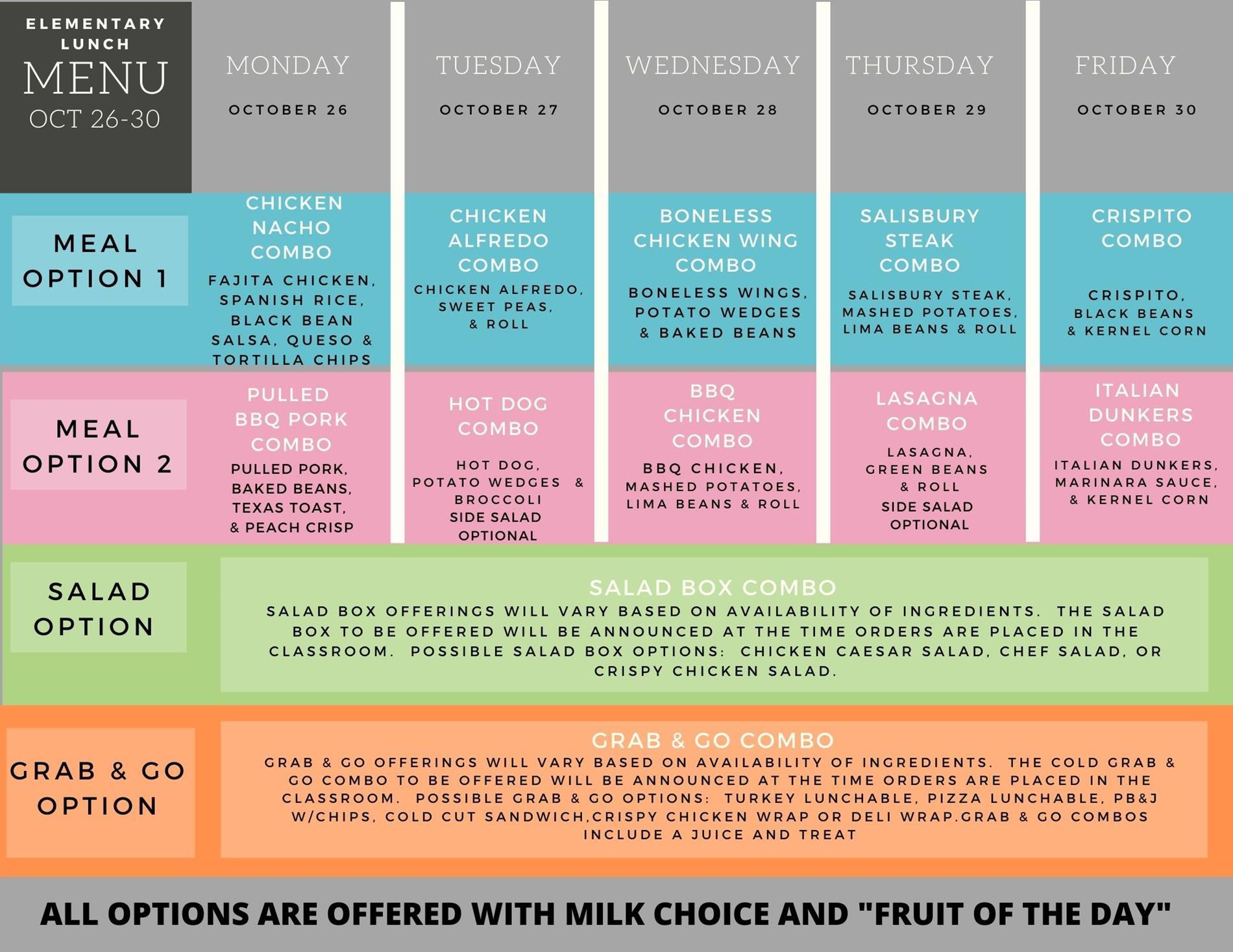 Week of October 26-30 Menu