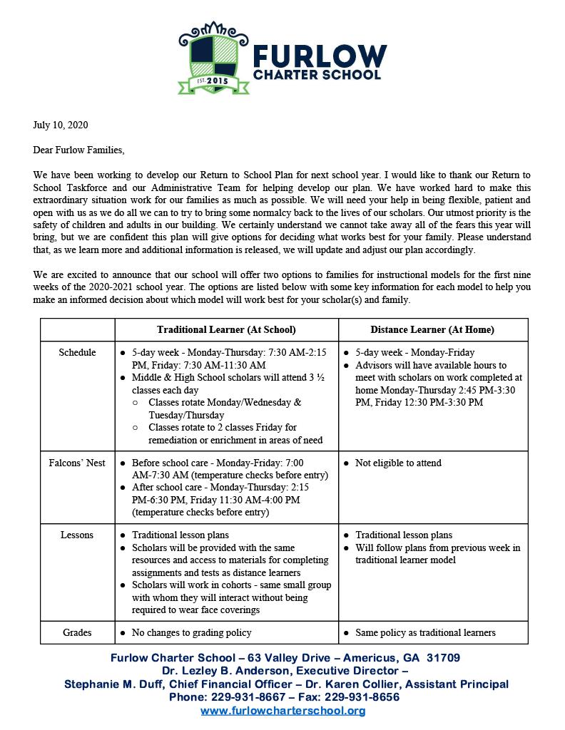 Return to School Parent Letter Pt 1