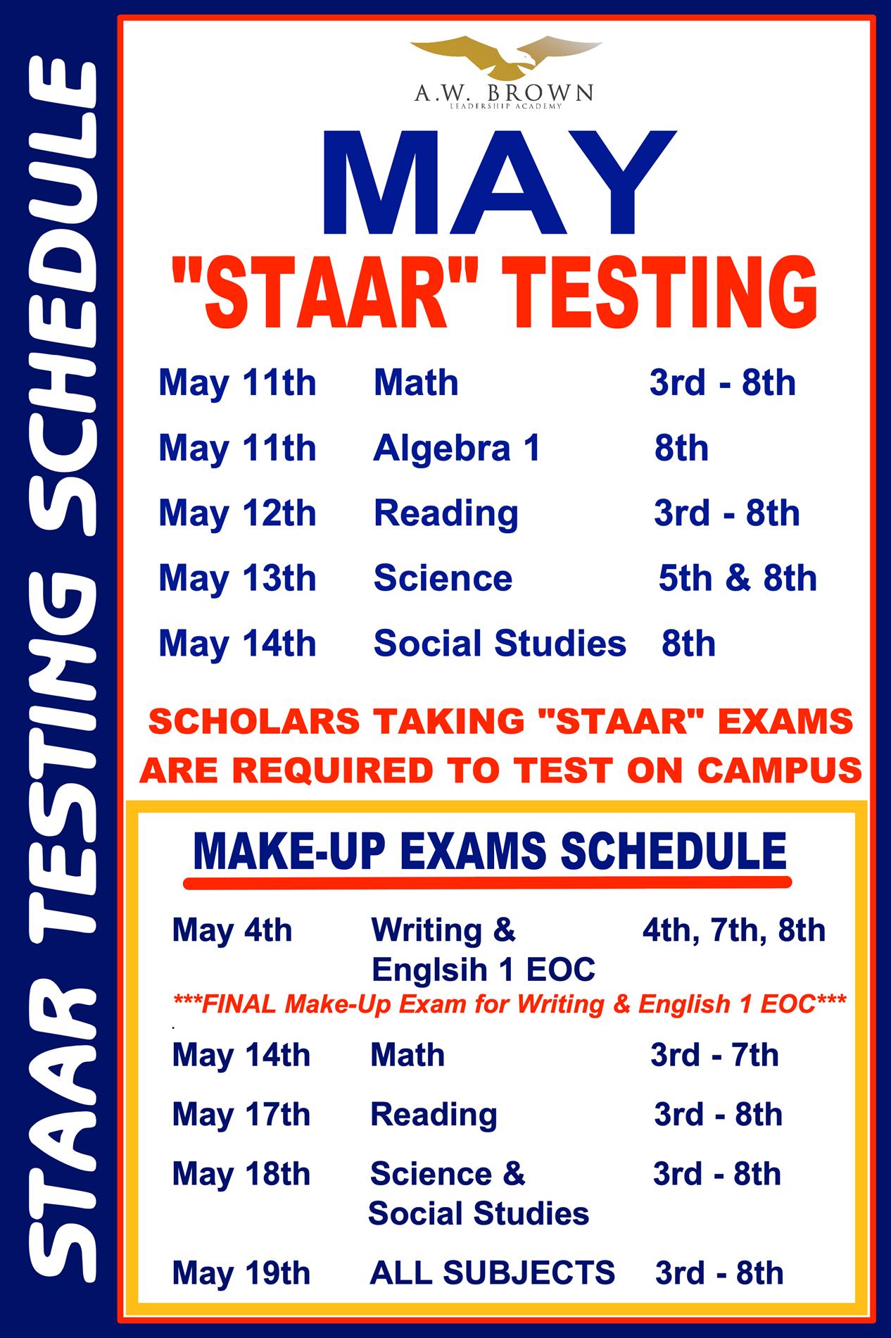 "May ""STAAR"" Testing Schedule"