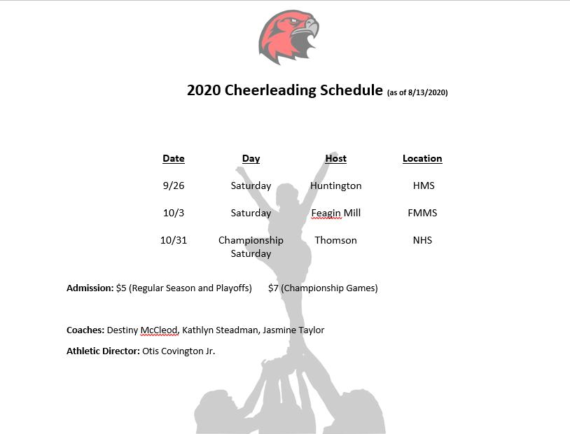 Revised 2020 Cheer Schedule