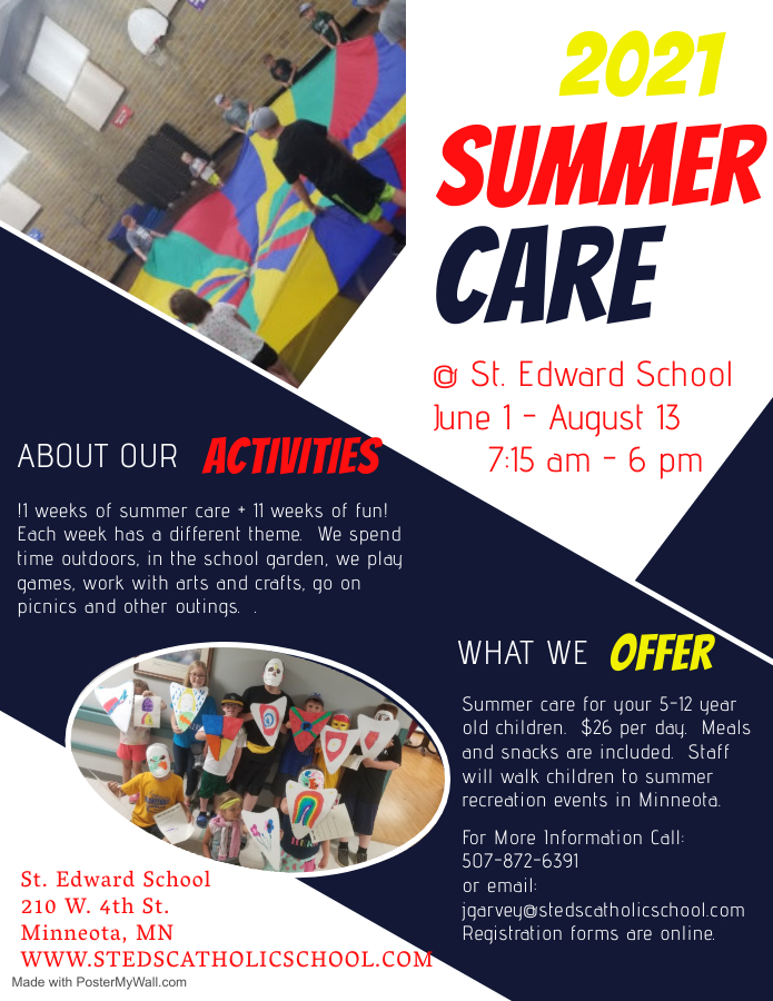 Poster for Summer Care at St. Edward School in Minneota, MN.
