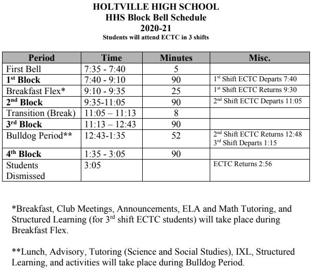 2020-2021 HHS Bell Schedule