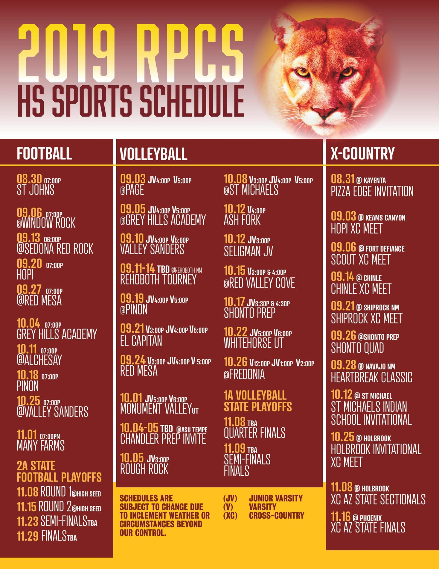 2019 Fall HS Sports Schedules