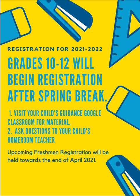 Grades 10-12 will begin registration after spring break. Upcoming freshmen will be at the end of April.