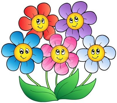 GROUP OF SMILING FLOWERS