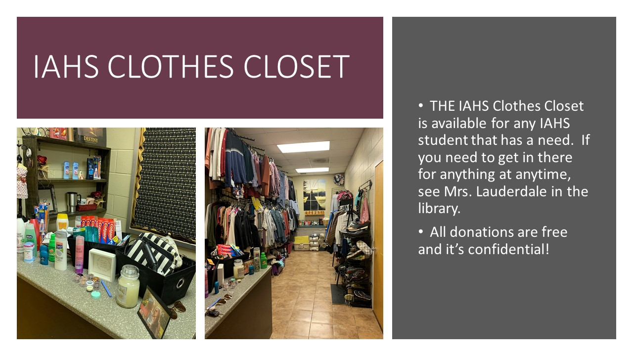 Clothes and other items available in the clothes closet.