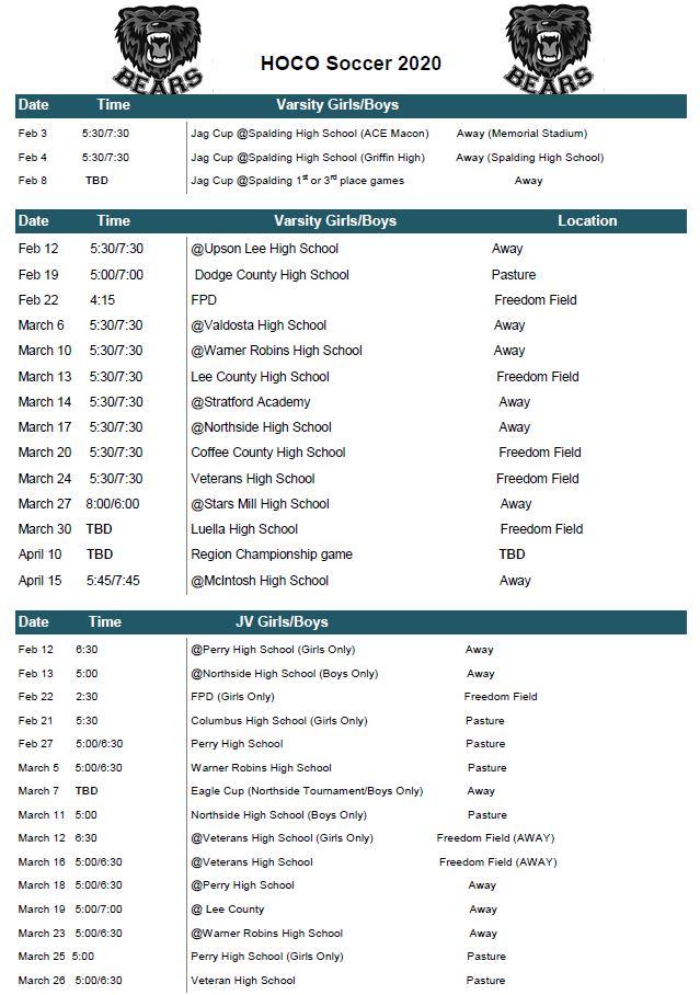 Soccer Team 2020 Schedule