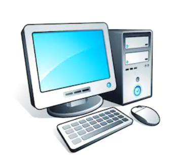 Computer with monitor, keyboard, and mouse
