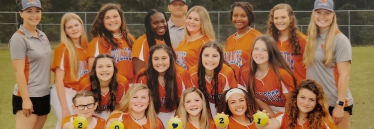 TCMS Girls Softball team members and coaches