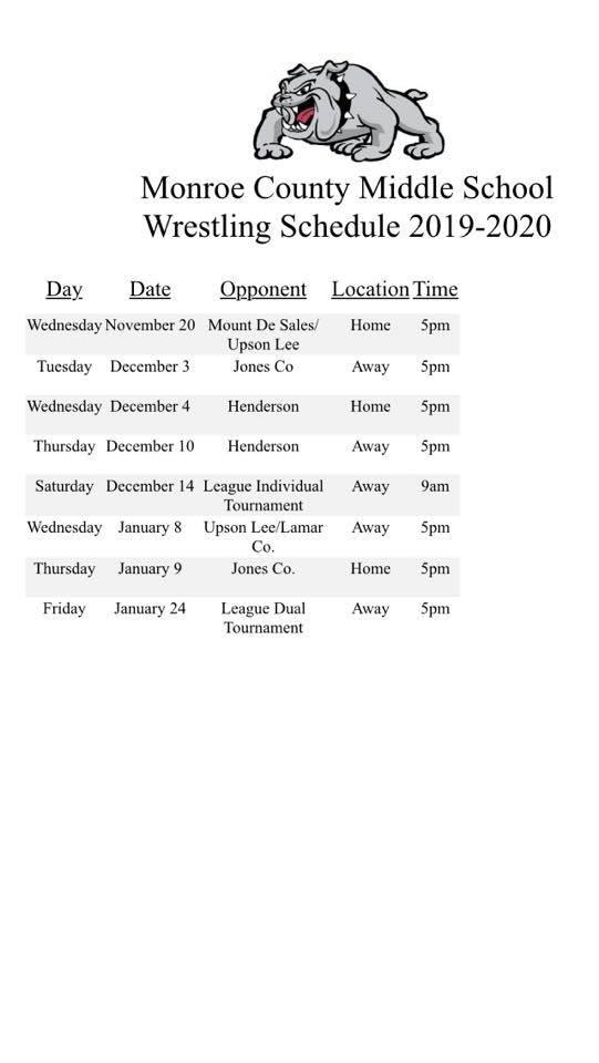 MCMS Wrestling Schedule