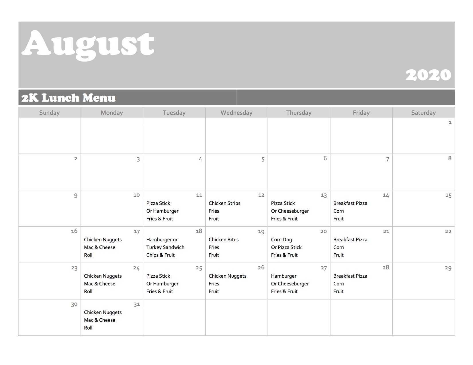 August Lunch Menu - 2K