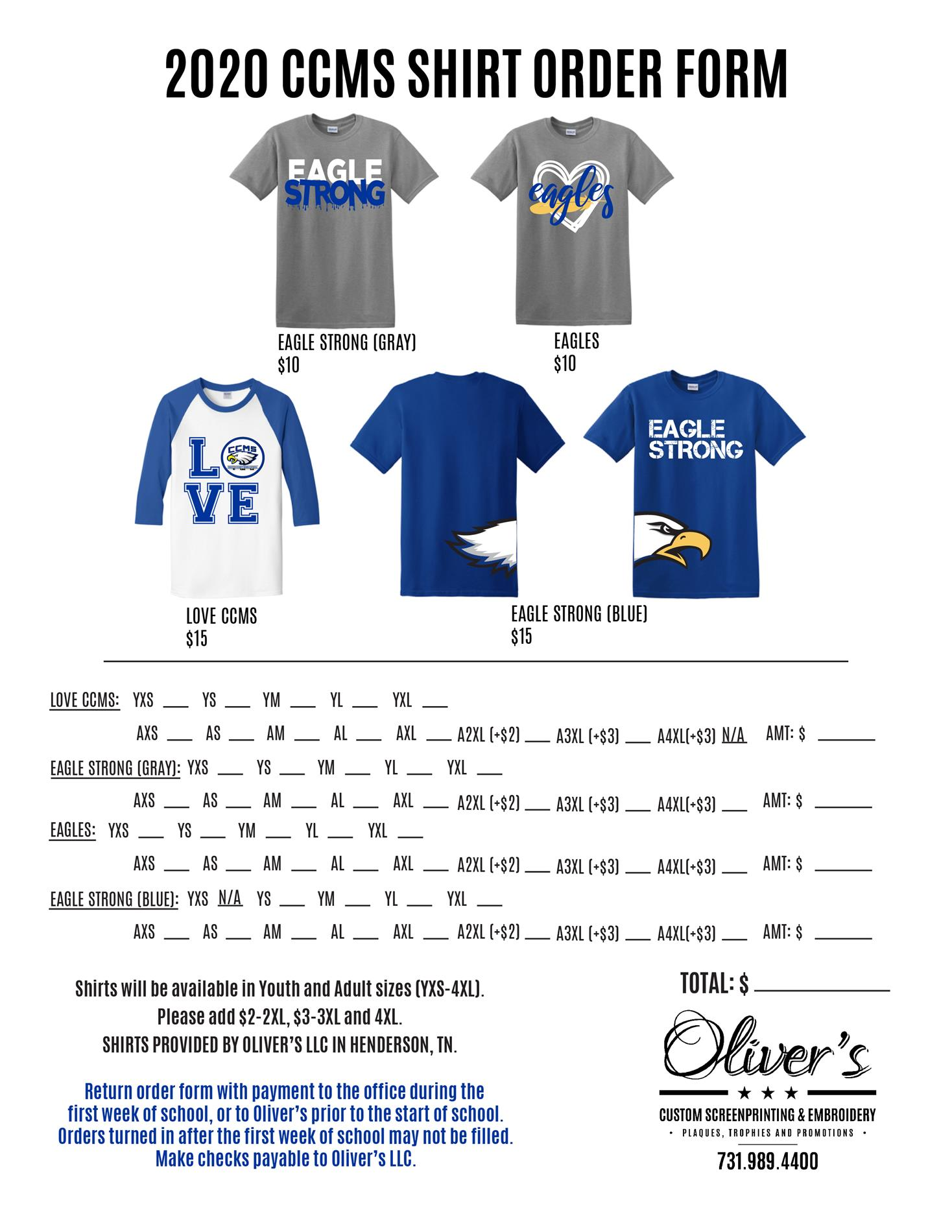 CCMS Spirit Shirt Order Form