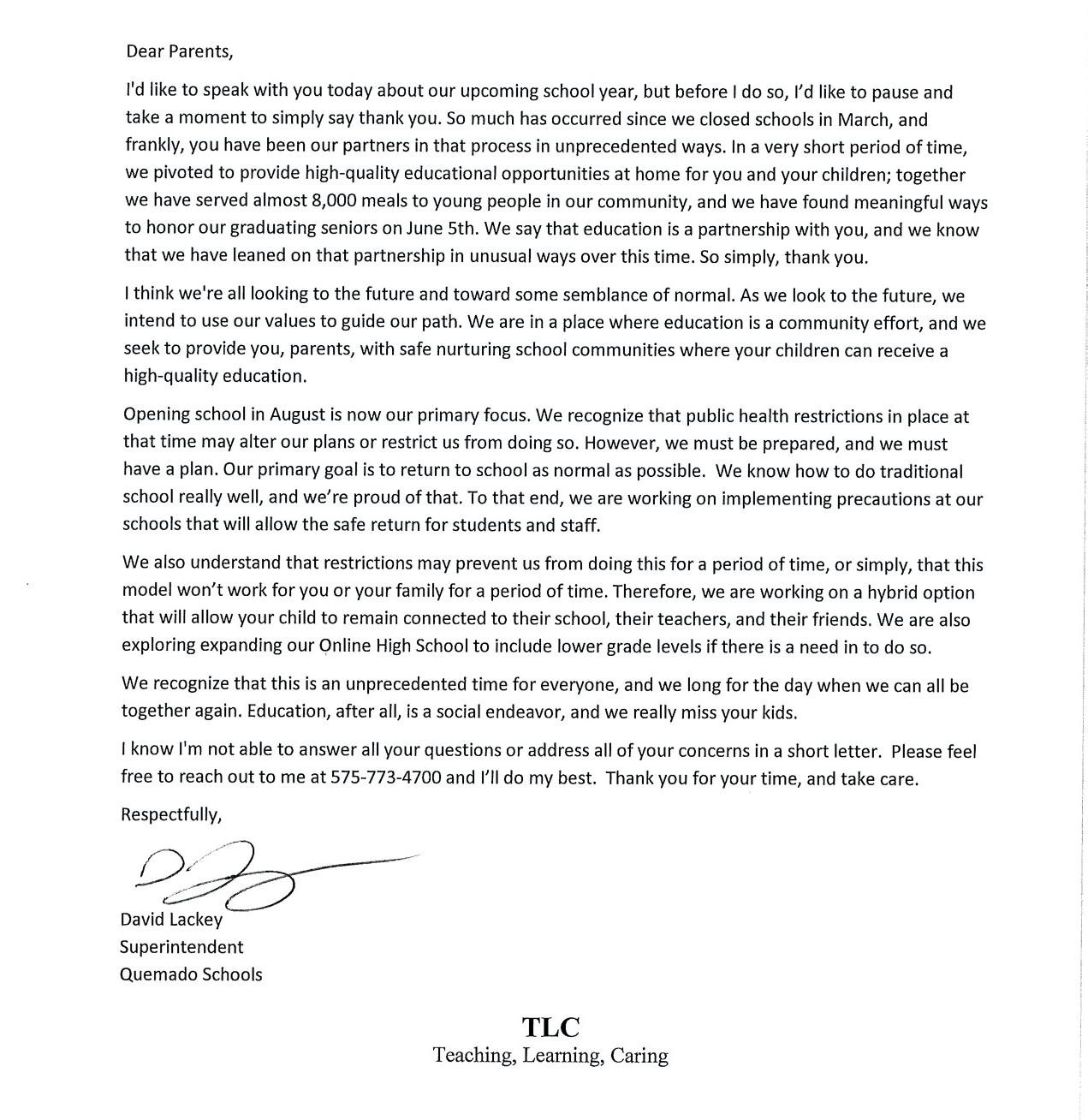 Parent Letter Covid 5-26-20