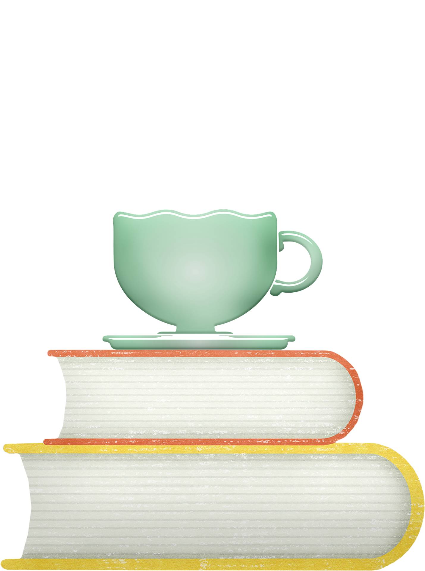 teacup on a stack of books