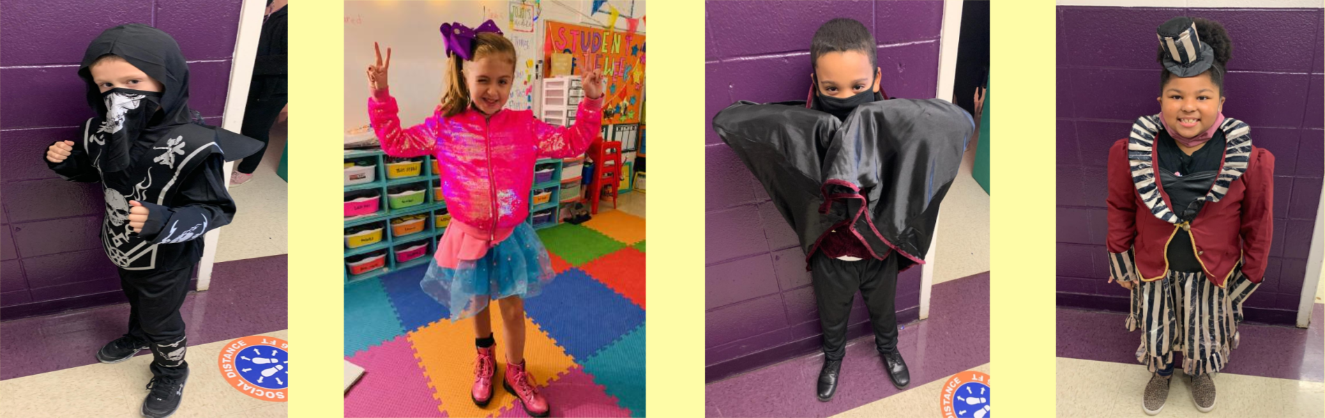 Students dressed in costumes for Red Ribbon Week