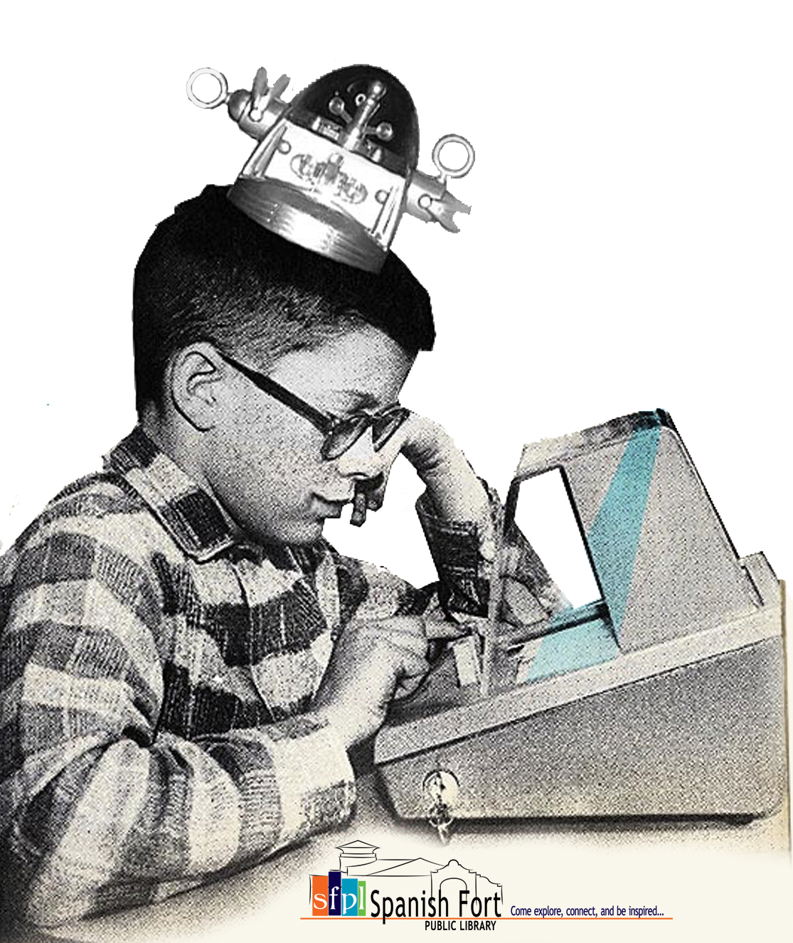 Retro picture of boy at adding machine