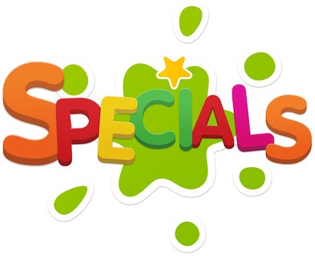 word specials with slime splat background