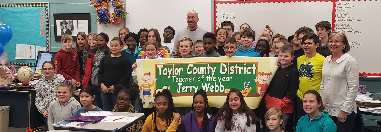 Jerry Webb and his students celebrating him making District Teacher of the Year