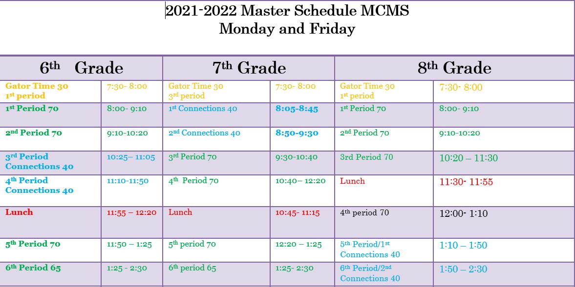 Mon/Fri schedule