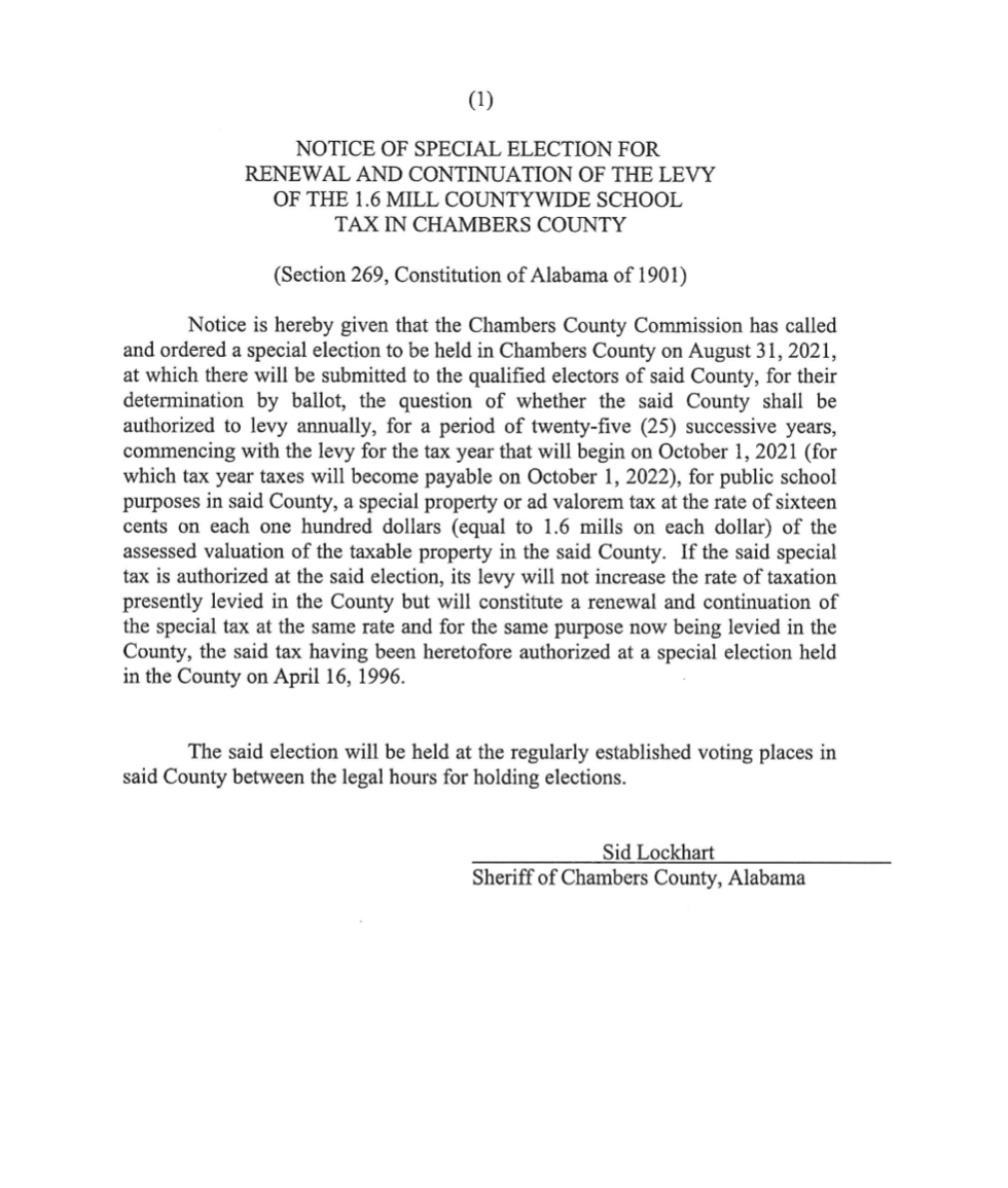 Notice of Special Election for Renewal and Continuation of the Levy of the 1.6 Mill Countywide School Tax