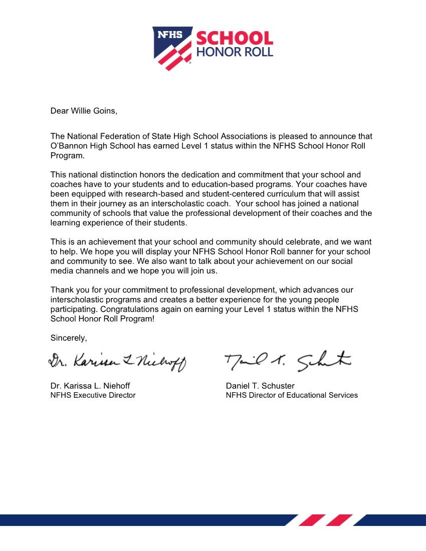 NFHSS Letter