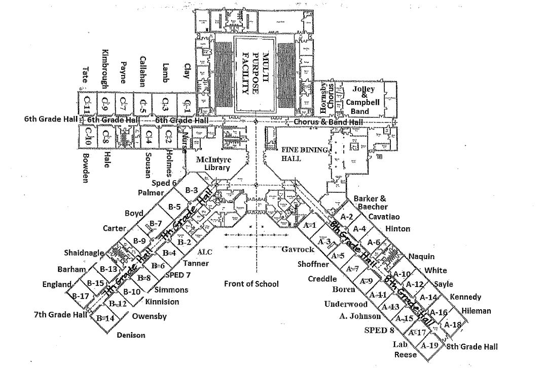 Map of the school labeled with teachers- click for printable pdf