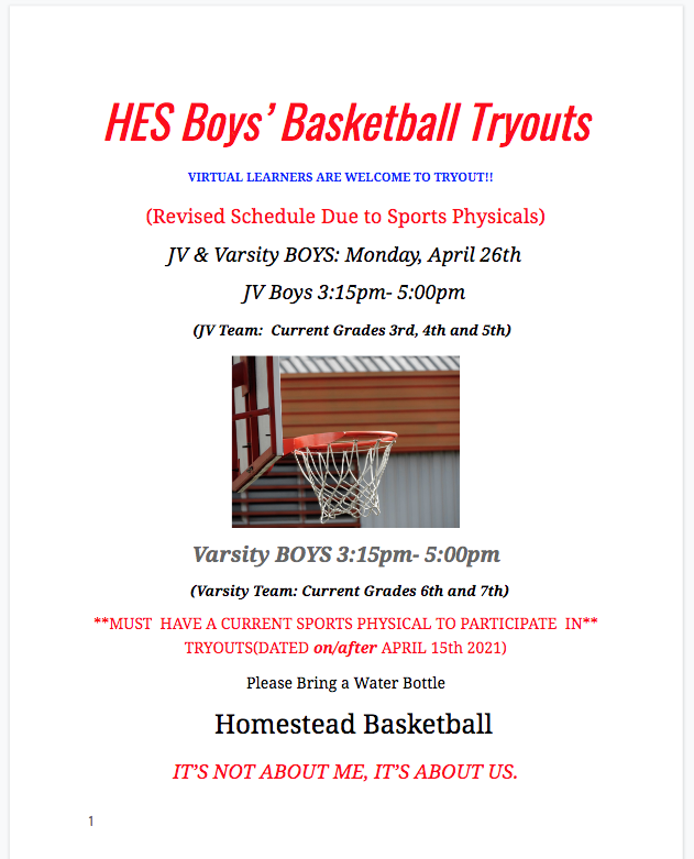 Boy's Tryouts