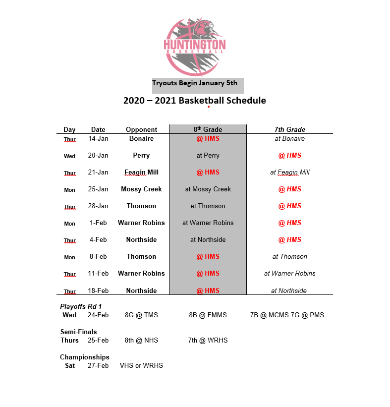 2020-2021 Basketball Schedule