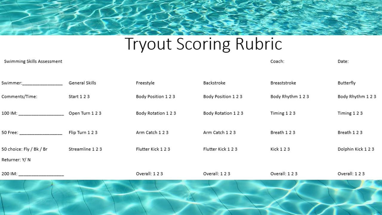 Tryout Scoring Rubric