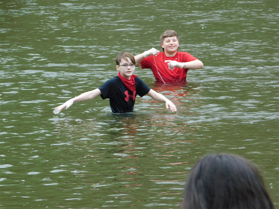 The cold water didn't deter some students from completing the tests