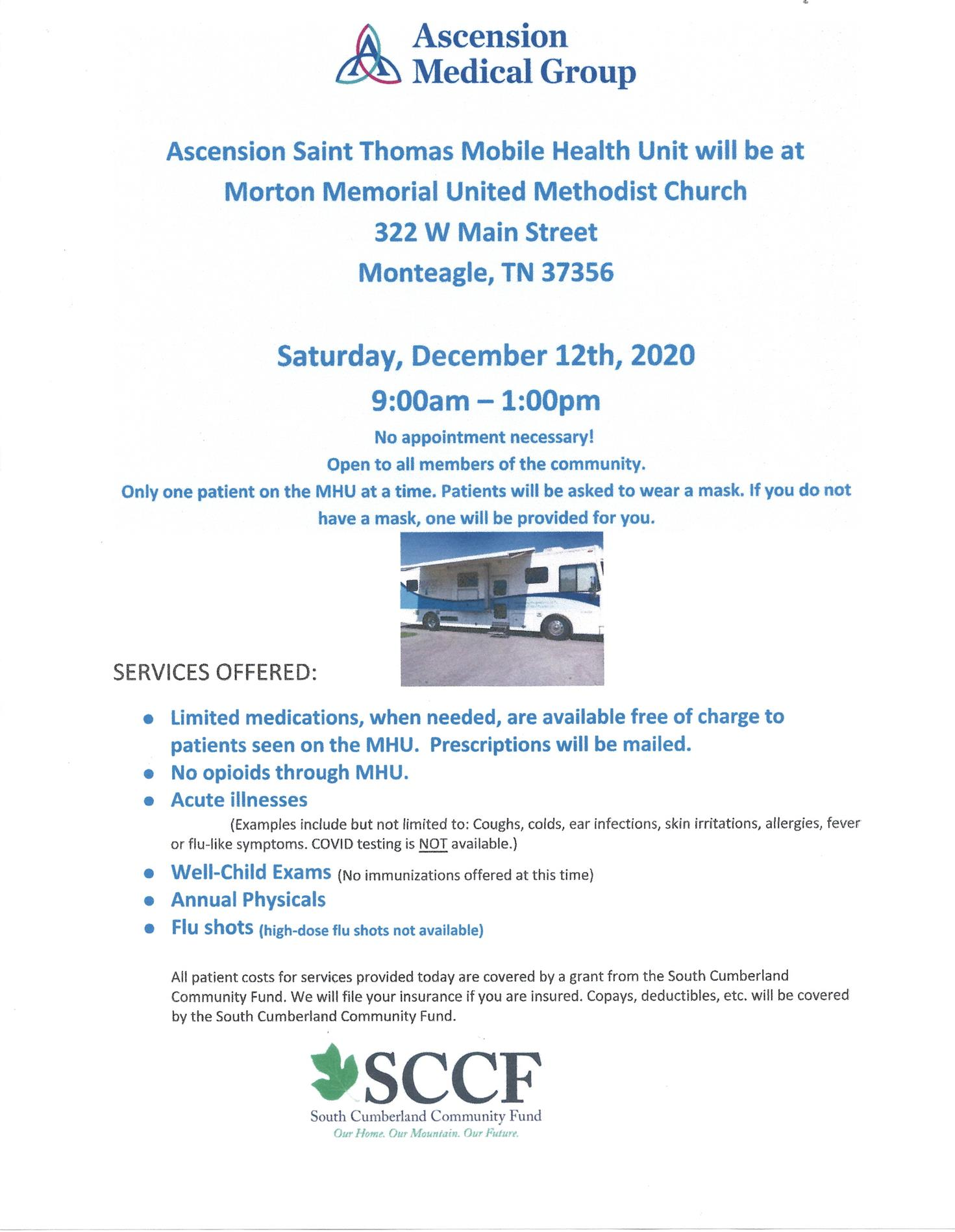 Mobile health unit flyer