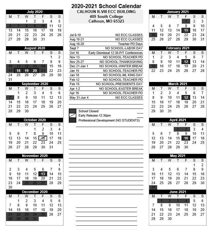 2020-2021 ecc calendar