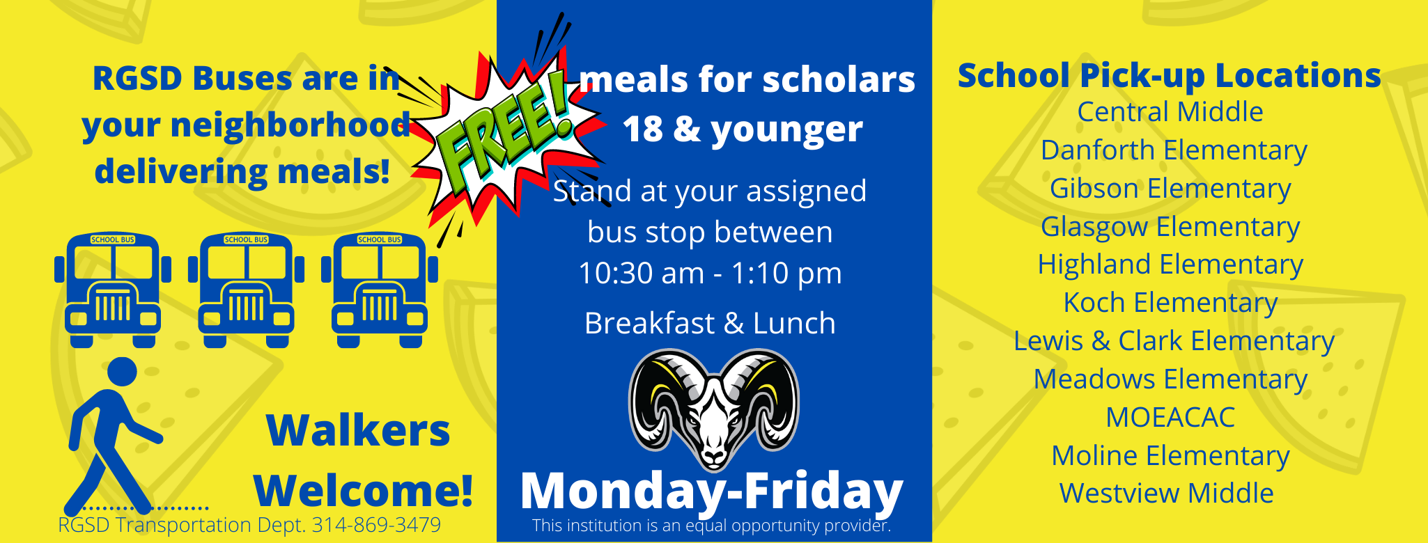 Free meals for all scholars by bus