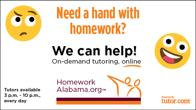 "HomeworkAlabama.org ""We can help"" ad with link"