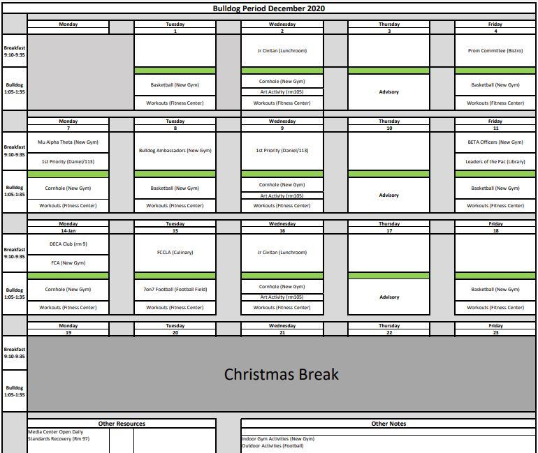 December Bulldog Schedule