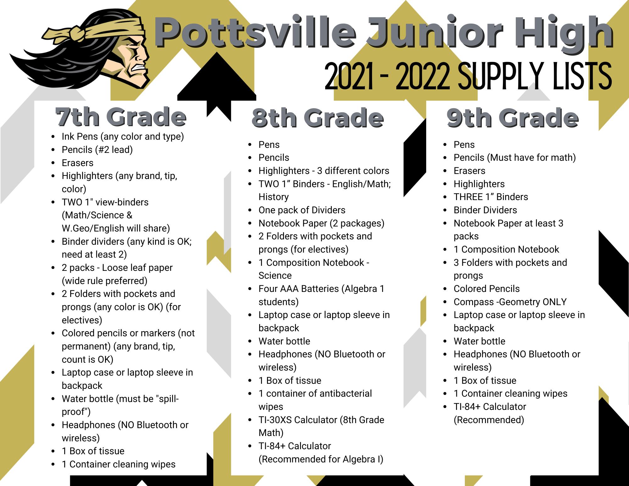 Junior High School Supply Lists