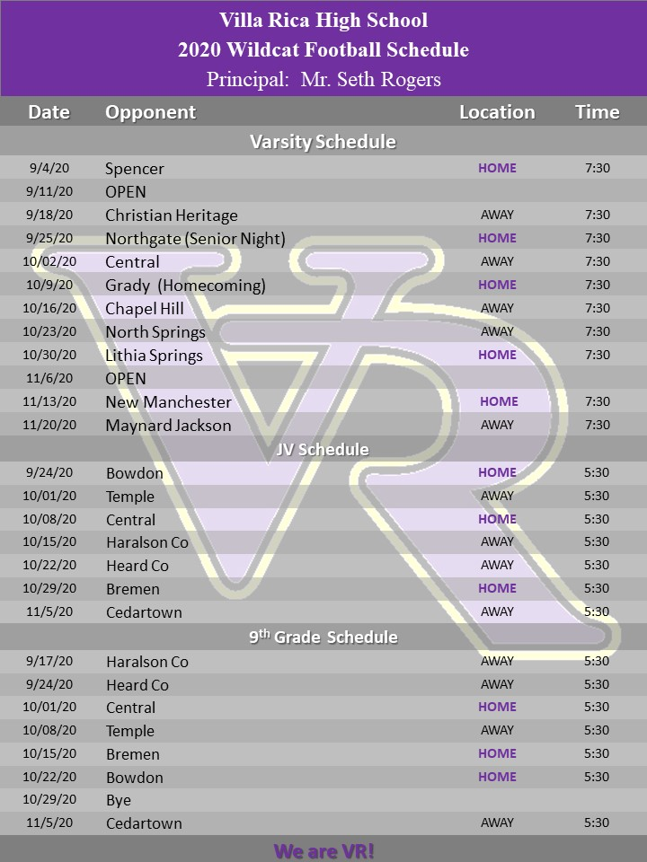updated schedule