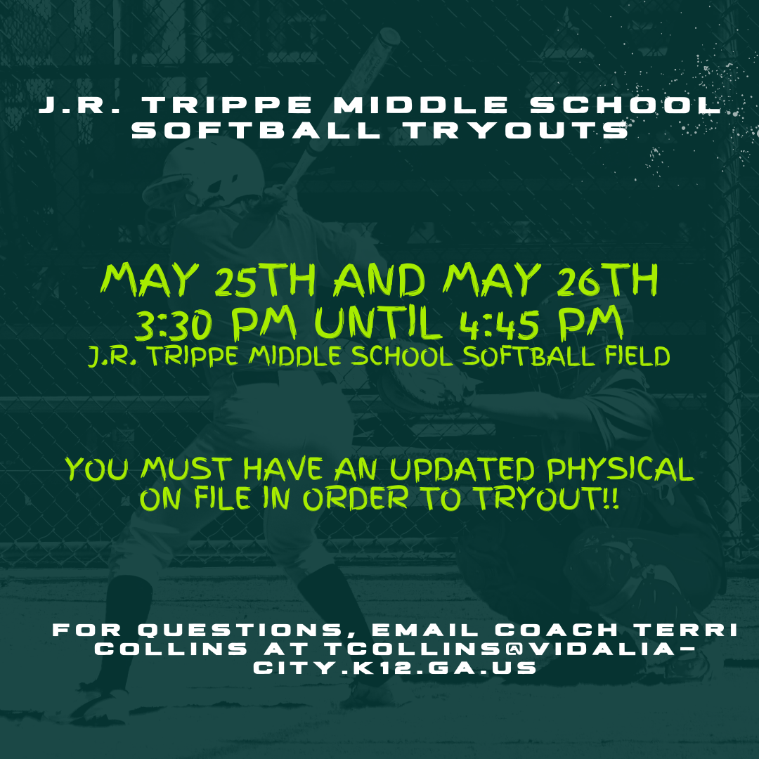 J.R. Trippe Middle School Softball Tryout Announcement