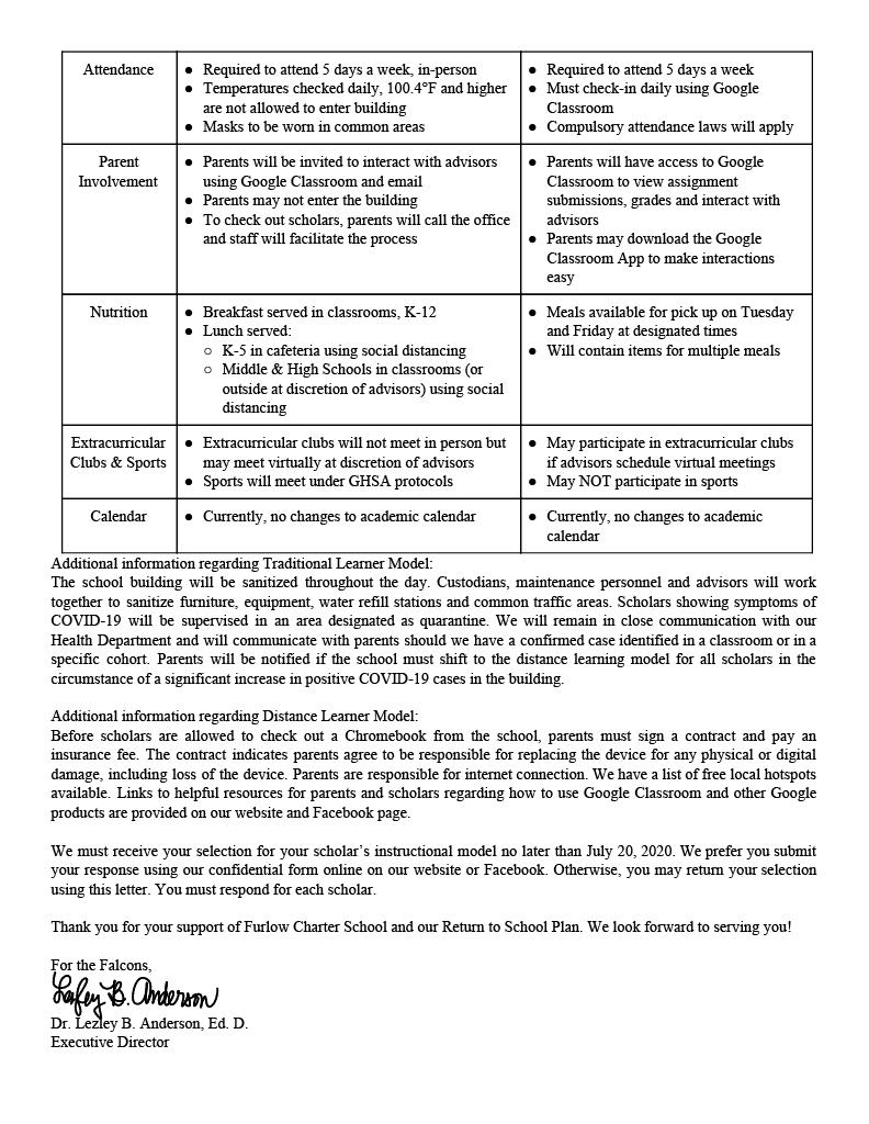 Return to School Parent Letter Pt 2
